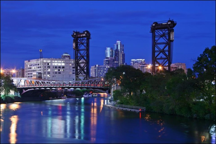 11. Joe took this photo of the South Branch of the Chicago River in the evening.