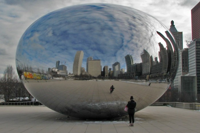 16. This is a truly incredible reflection shot of Chicago caught in the bean.