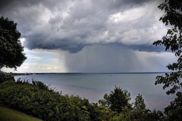 6. Storm clouds form over Lake Michigan.