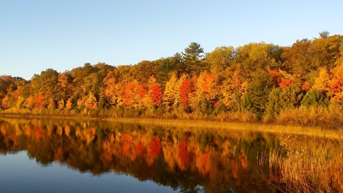 14. Nothing is more gorgeous than Wisconsin fall foliage--unless it's reflected in one of our many clear lakes.