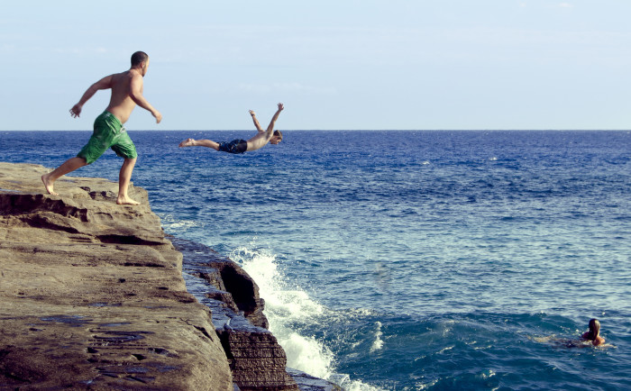 10) Cliff Jumping.