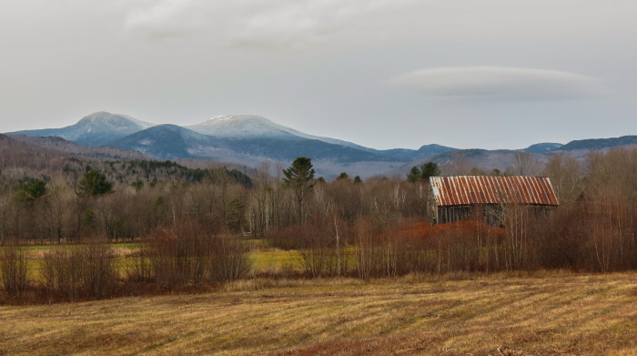 5. This landscape in the mountains of Western Maine almost hides this small barn near Grafton Notch in Newry.