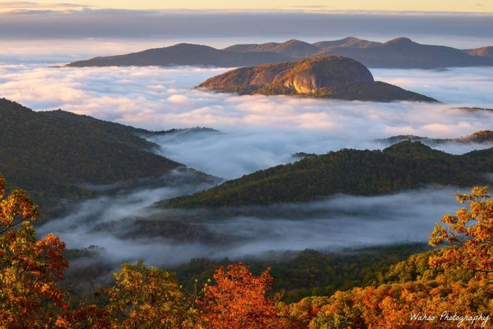 14. Looking Glass Rock immersed in morning fog.