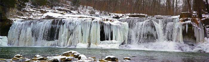 4. This is an incredible shot of the Cataract Falls in the winter.