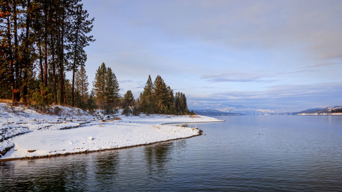 8. The snowy shore along Lake Roosevelt at the Gifford Ferry dock.