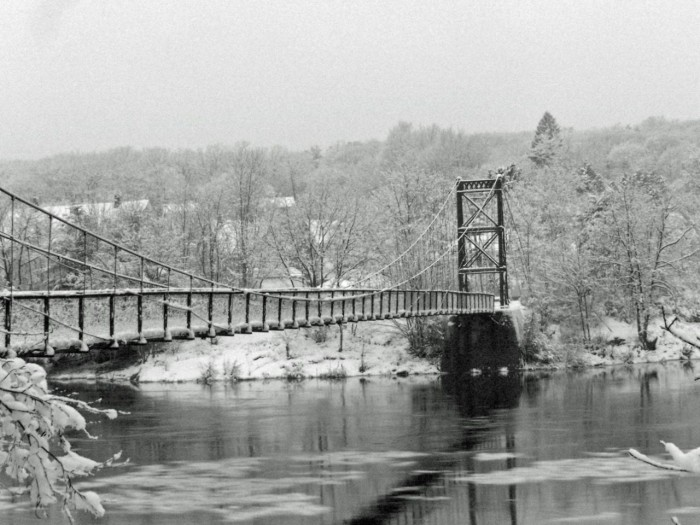 The walking bridge between Topsham and Brunswick in the snow.