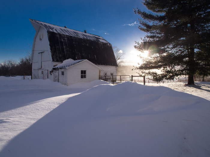 8. The barns look incredible when there is some snow in the picture.