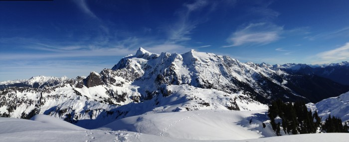 1. Mount Shuksan covered in snow, taken from the summit of Mount Ann.