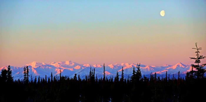 4) Alpen-glow across the Chugach Mountains!
