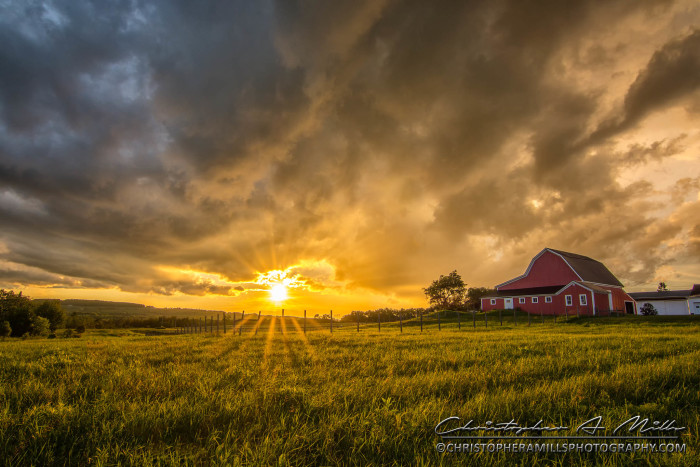 15. This post-storm barn scene proves that you don't need to be on the coast to see Maine's incredible sunsets.