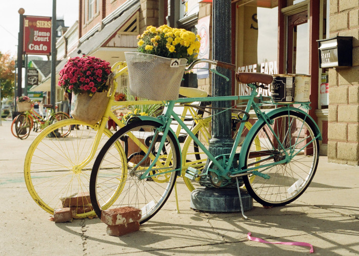 6. The town is home to these really creative bicycle planters.
