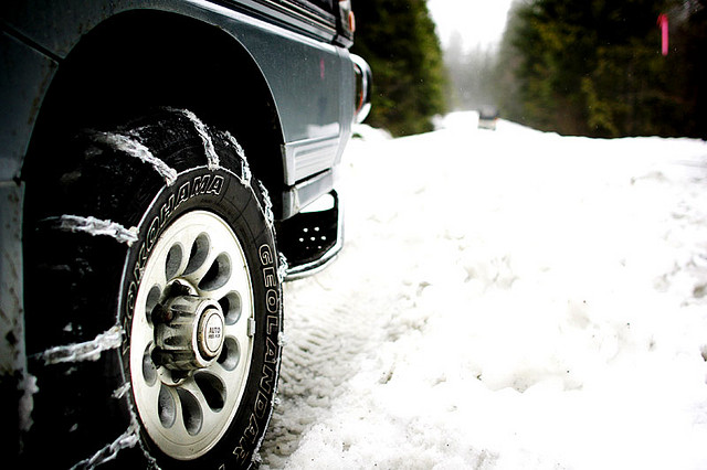 4. Chains on the tires and salt on the road are absolutely vital if we want to get anywhere from December to March.
