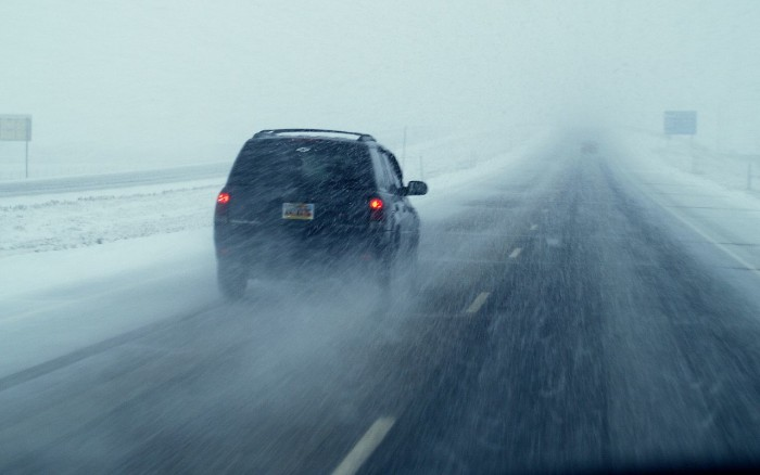 5. Driving on I-80 during a snowstorm.
