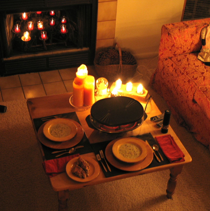 4. Soup in front of a warm fire.