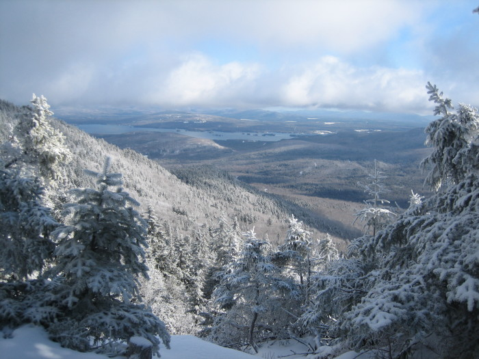 Snow dusted lake views, such as this one of Moosehead Lake from Big Moose Mountain.