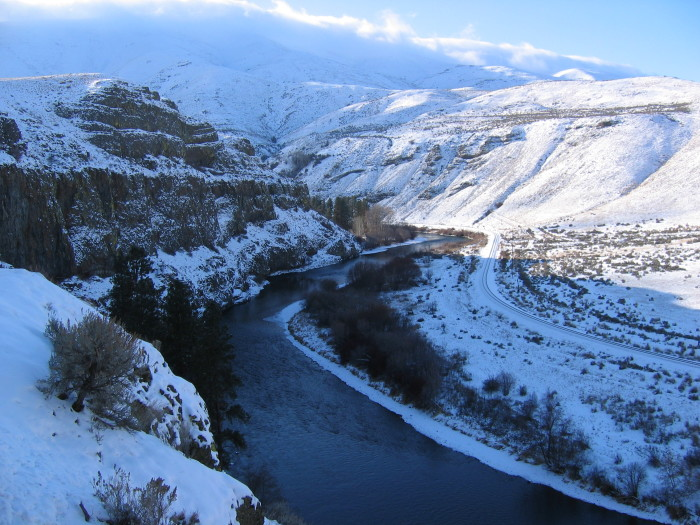 13. Here's a unique shot of the Yakima River during the winter, near Milepost 14.