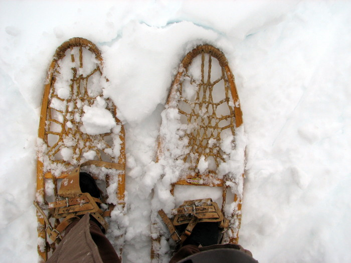 Snowshoeing! Let your flippies get buried in dooryard snow, it's time to throw on your snowshoes.