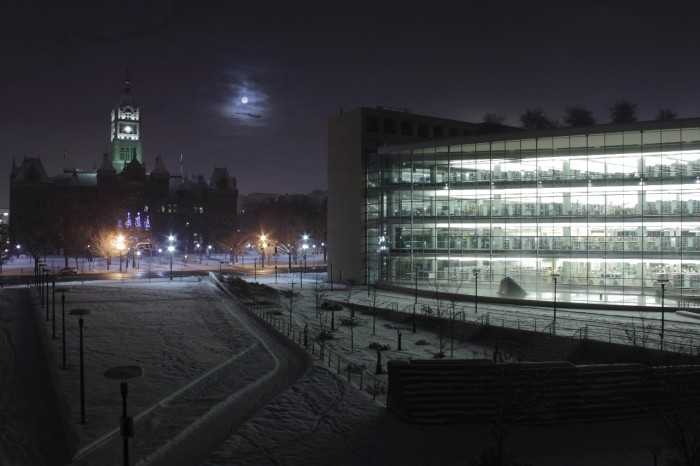 14. The library looks a lot more cozy in the winter.