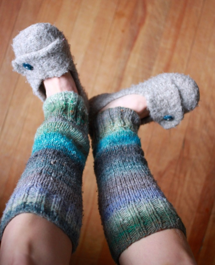 6) Re-purpose an old sweater into leg warmers.