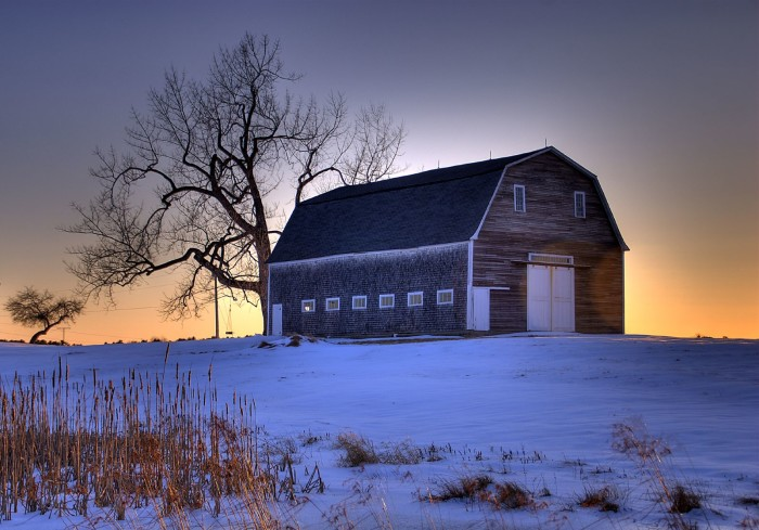 4. This sunrise over the beautiful Pennell Barn in Brunswick promises a stunning winter day.