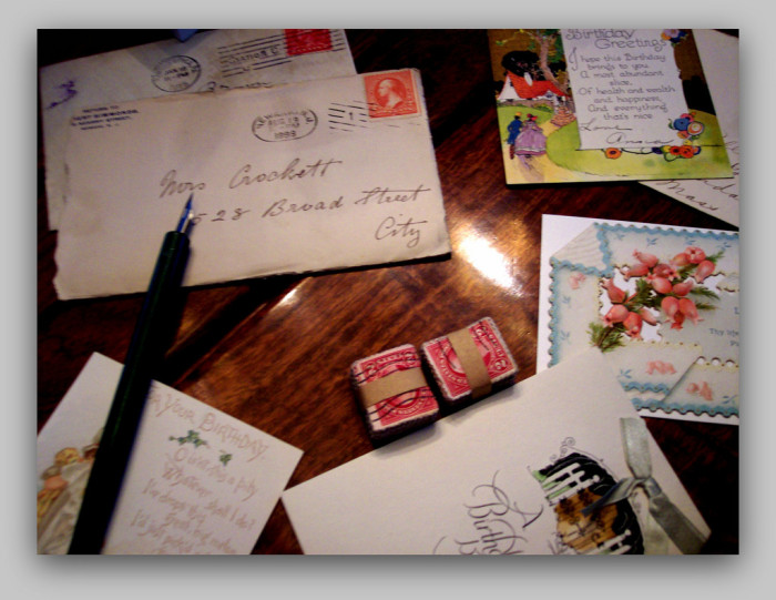 7. Our mail correspondence required a pen, paper and stamp.