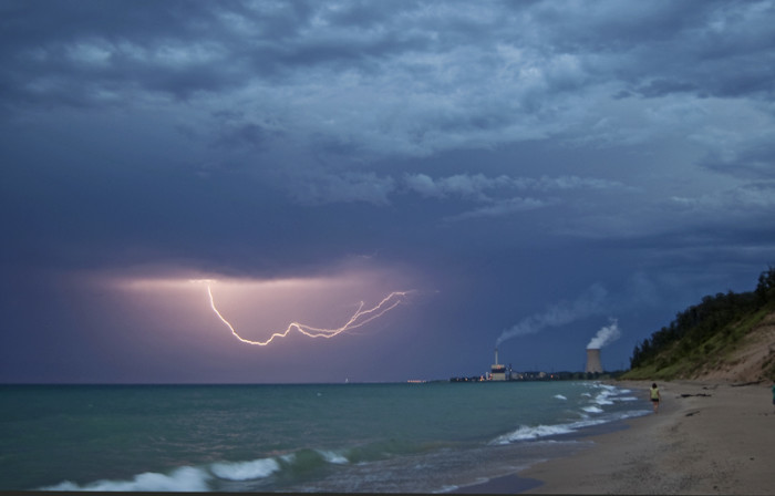 10. Hoosiers are no stranger to lightning storms. This one stretching across the sky over the Michigan City lighthouse is incredible.