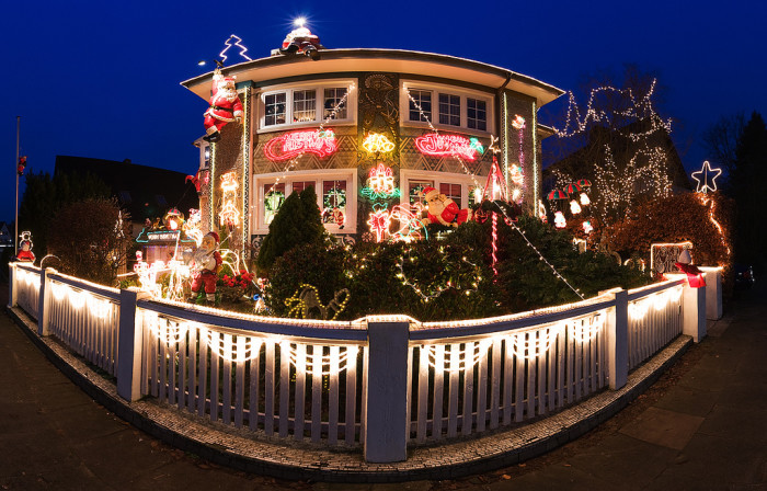 4. Or marveling at the sparkling lights that illuminate the houses during the season. You could even do your own Tour of Lights around your city!
