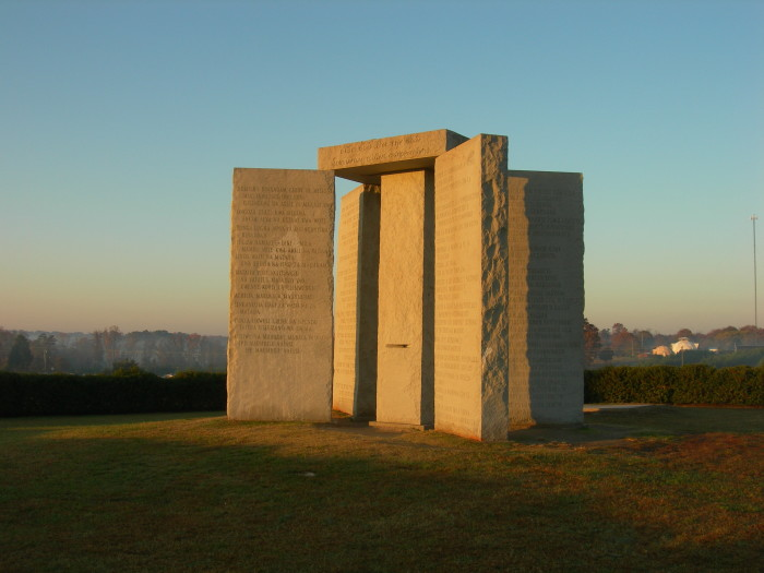 10. The Georgia Guidestones in Georgia were designed to withstand the apocalypse to give survivors the guidelines to rebuild society.