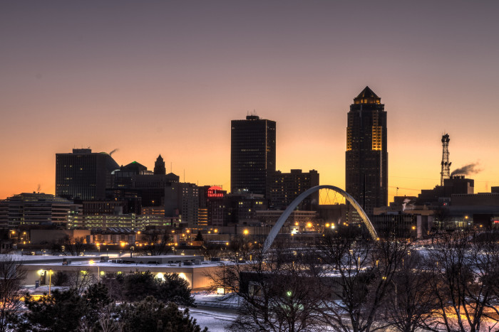 5. The bustling Des Moines cityscape at night.