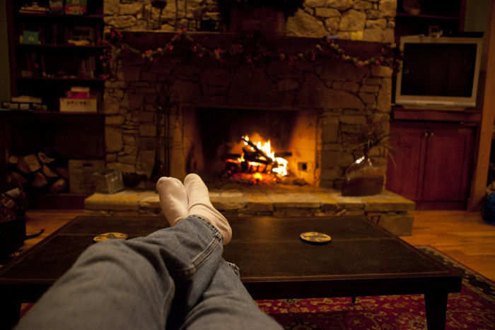 10. At the end of a long winter day, nothing beats curling up in front of the cozy fireplace...