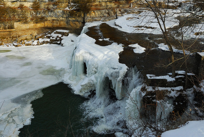 5. Here is another pretty incredible picture of the frozen Cataract Falls.
