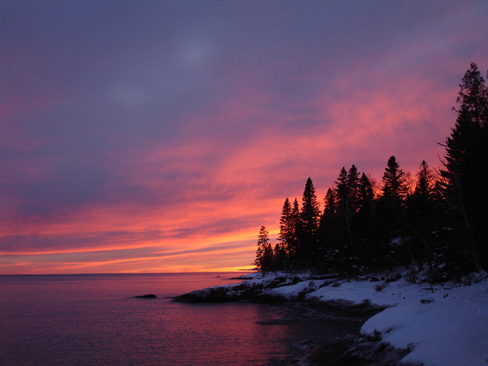 20. This sunset on the North Shore might not be beautiful because of the snow.