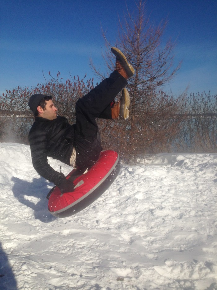 Getting some serious air while snow tubing at the Eastern Prom in Portland. Or, anywhere in Maine.