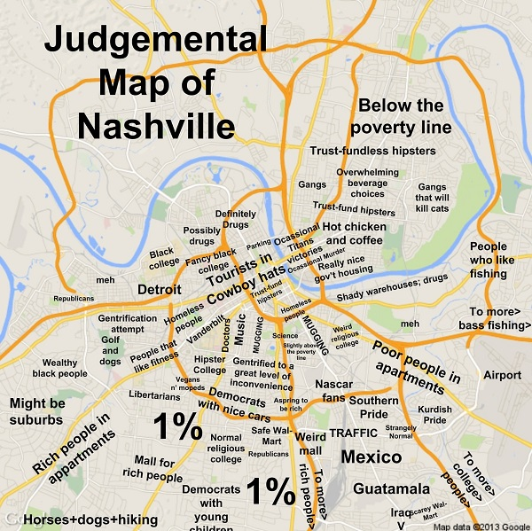 5) And for good measure, a judgmental map of Nashville.