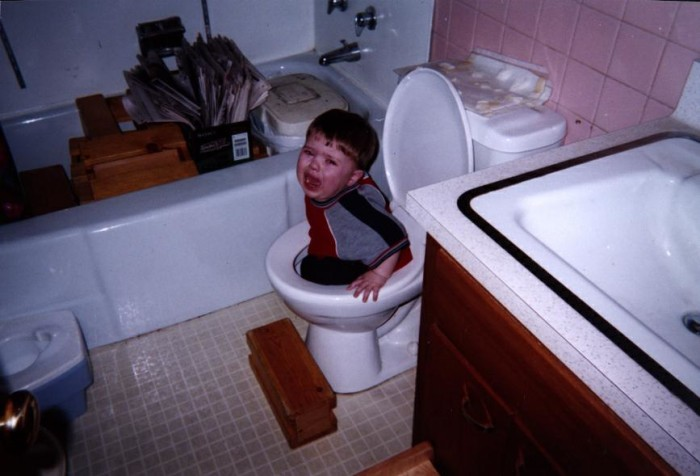 6. You remember when the guy sitting next to you at graduation got himself stuck in a toilet on the first day of 1st grade.
