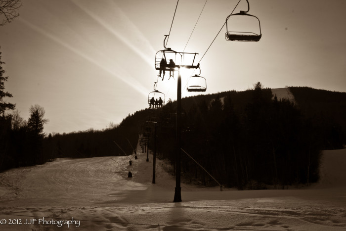 Dusky lift rides at Sunday River...