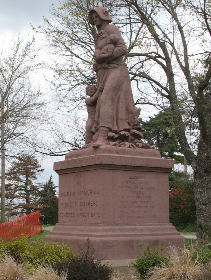 "6.	The ""Madonna of the Trail"" monument in Lexington is one of 12 placed in every state crossed by the National Old Trails Road, the route of early settlers from Maryland to California.  The monuments are dedicated to the brave women who helped conquer the west ."