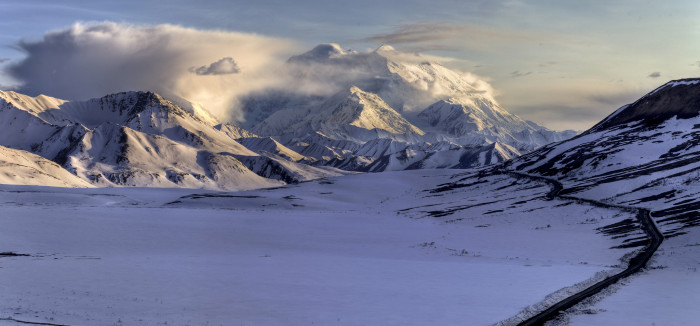 1) Denali drenched in snow.