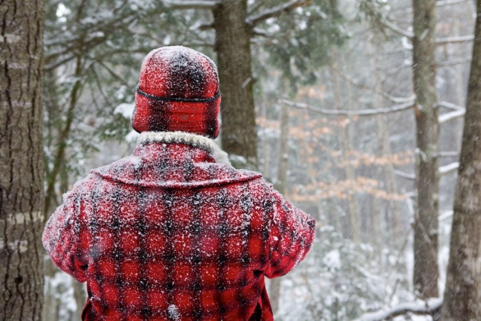 Buffalo plaid in Maine looks great anytime, but it really shines when being worn in the actual forest.
