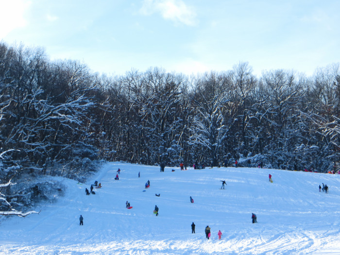 6) You probably knew all the kids in the neighborhood so snow days were filled with sledding fun.