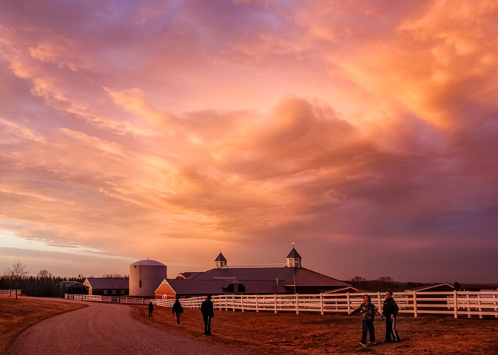 11. An absolutely surreal sunset over the Pineland Equestrian Center in New Gloucester.