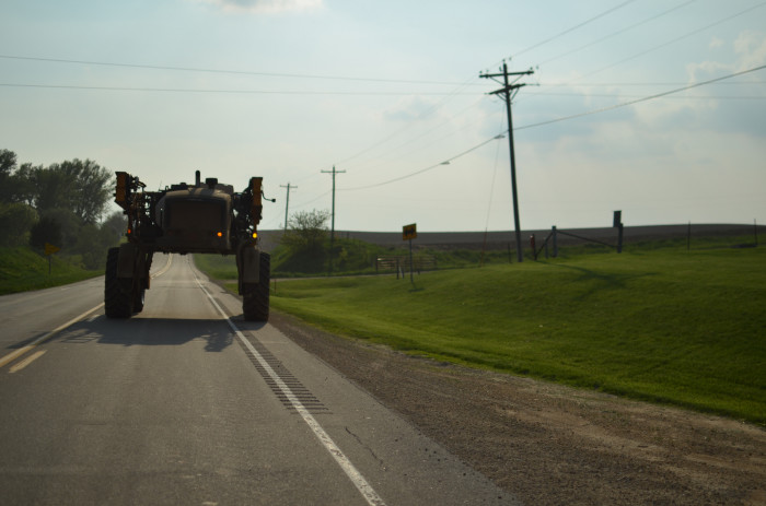 9. Getting stuck behind farm equipment on the road.