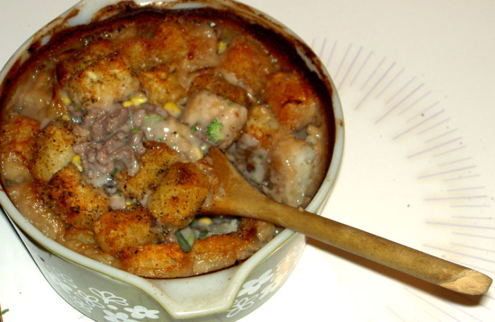 14. What happens when you mix tater tots, cream of mushroom, ground beef, and vegetables?