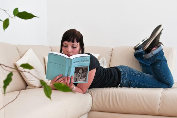 6. We read actual books.