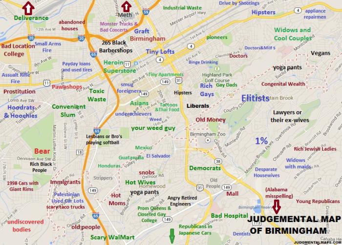 Hilarious Stereotypical Alabama Maps - Map of alabama