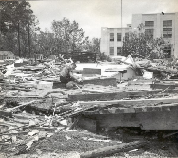 This image captures the magnitude of debris that found its way to the Cameron Parish Courthouse.