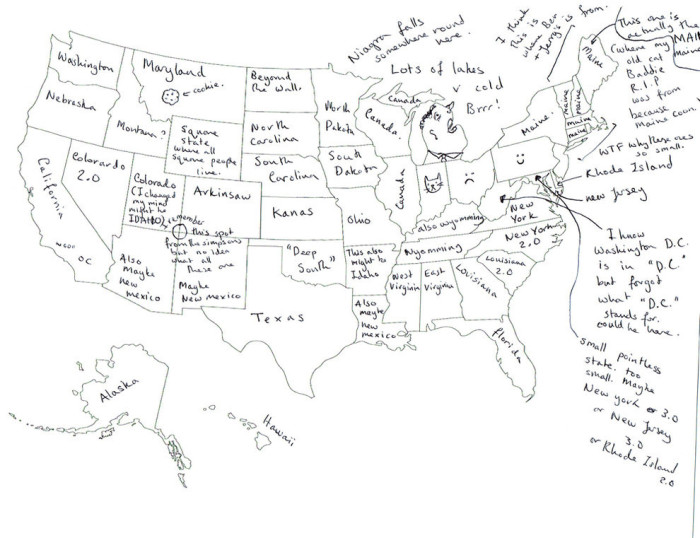 8. So this is what happens when Brits try to label all 50 states on the map. And yeah, maybe Virginia became New York, at least we weren't New York 2.0 (sorry, North Carolina).