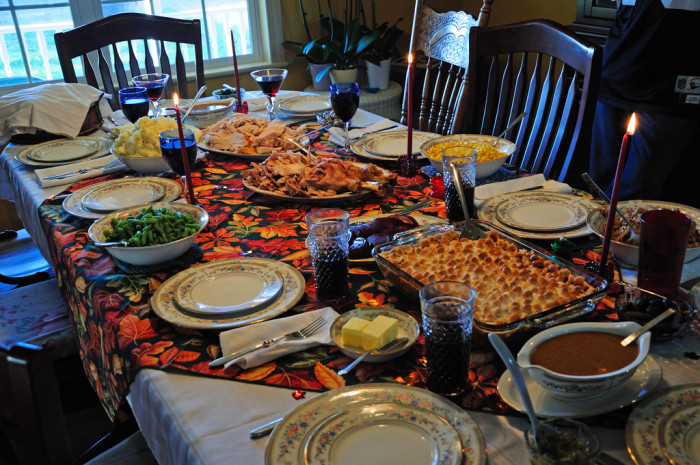 7. Having food on the table.