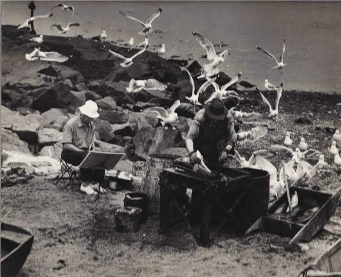 8. Painters at Fish Beach on Monhegan Island (circa 1940)