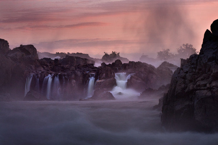 15. Great Falls is photographed in a perfect blend of sunrise and mist to create an ethereal effect.
